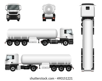 Tanker truck vector mock up for advertising, corporate identity. Isolated template of lorry tank on white background. All elements in the groups on separate layers. View from side, front, back, top.