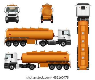 Tanker truck vector template on white background. Isolated fuel gas tank. All elements in the groups on separate layers. Vehicle branding mockup. View from side, front, back and top.