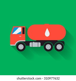 Tanker truck,gas truck flat,simple style icon with long shadow.