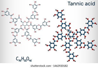 Tannic acid, tannin molecule. It is type of polyphenol. Structural chemical formula and molecule model. Vector illustration