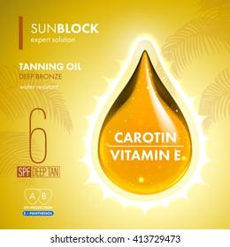 Tanning oil droplet with UV Protection. Sunblock SPF gold oil drop. UV protection solution suncare design. Vitamin E panthenol moisturizing expert formula.