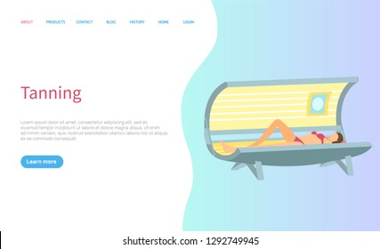 Tanning procedure at spa salon lady in sunroom vector. Woman getting tan on skin, professional treatment in solarium online page with text sample. Website or webpage template landing page in flat