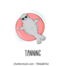 Tanning seal vector illustration. Cartoon cute mammal lazy fat marine lion character sunbathing on pink inflatable mattress. Chill time on vacation