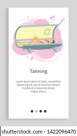 Tanning spa procedure, female lying in solarium, woman character wearing swimsuit sunbathing in sunroom, glamour skincare, salon equipment vector. Website slider app template, landing page flat style
