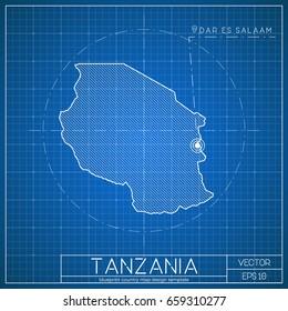 South korea blueprint map template capital stock vector 658476865 tanzania blueprint map template with capital city dodoma marked on blueprint tanzanian map vector malvernweather Gallery