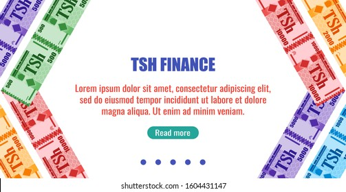 Tanzania business, payment and finance element. Tanzanian Shilling Banknotes money vector template, good for landing page, infographic, web, social media post or other digital and print usage.