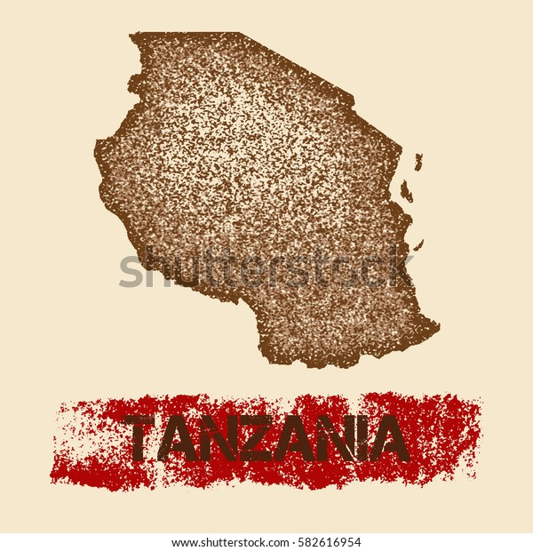 Tanzania distressed map. Grunge patriotic poster with textured Tanzania outline ink stamp and roller paint mark, vector illustration.