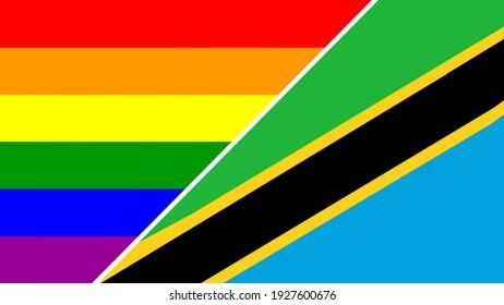 Tanzania flag and LGBT flag vector illustration.