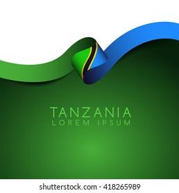 Tanzania Flag Ribbon : Vector Illustration