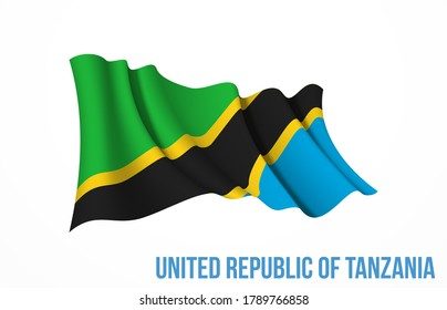 Tanzania flag state symbol isolated on background national banner. Greeting card National Independence Day of the United Republic of Tanzania. Illustration banner with realistic state flag.