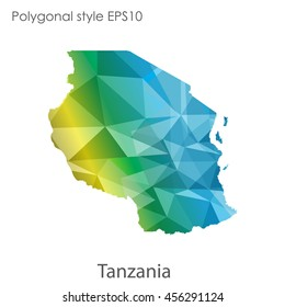 Tanzania in geometric polygonal style.Abstract gems triangle,modern design background. Vector illustration EPS10