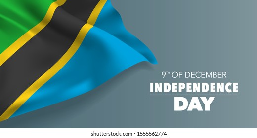 Tanzania independence day greeting card, banner with template text vector illustration. Tanzanian memorial holiday 9th of December design element with flag with stripes