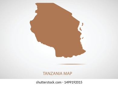 Tanzania map, brown color and country name. Map of Africa. Vector map on gray background. Symbol for your web site design map logo. app, ui, Travel vector eps10, concept Illustration.
