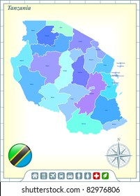 Tanzania Map with Flag Buttons and Assistance & Activates Icons Original Illustration