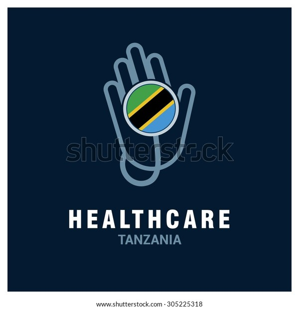 Tanzania National flag on stethoscope - Health care logo - Medical Logo - specialist doctors in Country - Hospital Clinic Logo - Helping Hand Logo - Charity Help Vector illustration