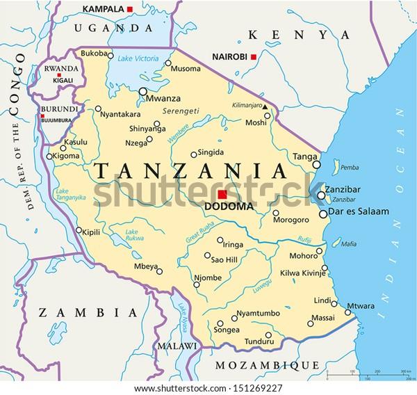 Tansania Poliittinen Kartta Poliittinen Kartta Arkistovektori