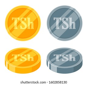 Tanzanian Shilling coin golden and silver or metallic coin icon vector Logo illustration design. Tanzania currency, payment and finance element. Can be used for web, mobile, infographic, and print.