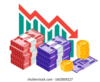 Tanzanian Shilling Exchange Rate Stock Market Value Price Decrease down vector icon logo design. Tanzania currency, business, finance and economy element.  Can be used for web, mobile, and infographic