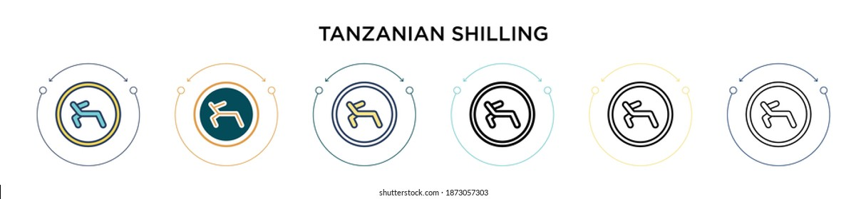 Tanzanian shilling icon in filled, thin line, outline and stroke style. Vector illustration of two colored and black tanzanian shilling vector icons designs can be used for mobile, ui, web