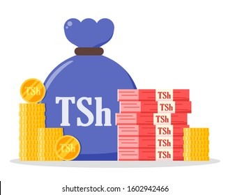 Tanzanian Shilling money bundle and coin stack sack bag vector icon logo and design. Tanzania currency business, payment and finance element. Can be used for web, mobile, infographic, and print.