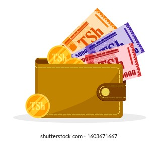 Tanzanian Shilling Money and Coin in a wallet vector illustration flat design. Tanzania Payment and finance element.  Can be used for web and mobile, infographic and print.