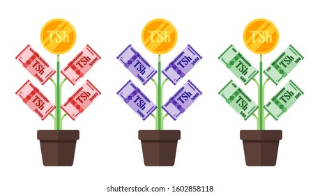 Tanzanian Shilling Money Tree Plant grow vector icon logo illustration design. Tanzania currency, economy,  finance, and business element. Can be used for web, mobile, infographic and print.