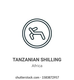 Tanzanian shilling outline vector icon. Thin line black tanzanian shilling icon, flat vector simple element illustration from editable africa concept isolated on white background