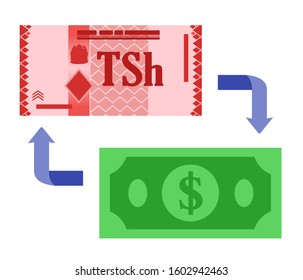 Tanzanian Shilling TZS Exchange to US Dollar USD vector icon logo illustration design. Tanzania currency, economy, finance, and business element. Can be used for web, mobile, infographic and print.