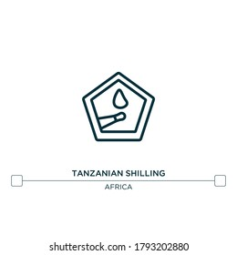 tanzanian shilling vector line icon. Simple element illustration. tanzanian shilling outline icon from africa concept. Can be used for web and mobile