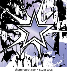 Tanzanite colored rock n roll grunge star vector background