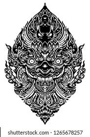 Tao Wassuwan ,Vaisravana, Vessavana Thao Wes Suwan is the God of assets and Buddha Design for thai traditional line drawing neo thai tattoo vector