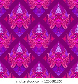 Tao Wassuwan ,Vaisravana, Vessavana Thao Wes Suwan is the Giant God of assets and Buddha Design for thai traditional line drawing neo thai tattoo vector seamless pattern whit pink and purple tone