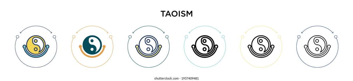 Taoism icon in filled, thin line, outline and stroke style. Vector illustration of two colored and black taoism vector icons designs can be used for mobile, ui, web