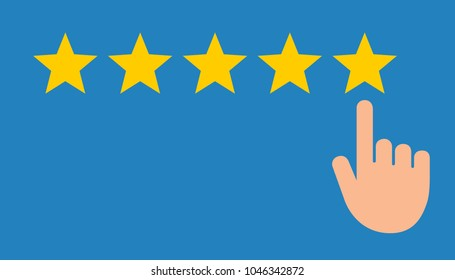 Tap with finger to rate a product 5 stars flat vector design for apps and websites