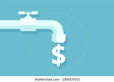 Tap water costs and savings concept. Vector of money dollar sign flowing from faucet isolated on blue background