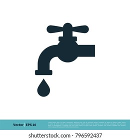 Tap Water Faucet Icon Vector Logo Template Illustration Design. Vector EPS 10.