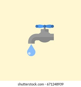 Tap Water Icon Flat Element. Faucet Tap Water Icon Vector Illustration In Flat Isolated Style On Clean Background.