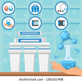 Tap Water. Water Treatment Plant Concept. Destruction Bacteria. Water Purification System. Flasks with Filters and Fluid Reservoir. Purification and Filtration Technology. Vector Flat Illustration.