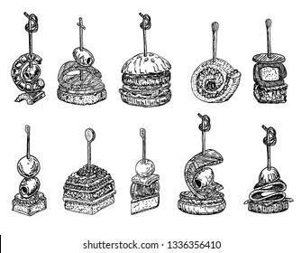 Tapas and canape image set. food hand drawn sketch vector illustration. Finger food, set of tiny canape on skewers. Mini sandwiches with croutons, olives, cheese, tomatoes.  Canape sketch set.