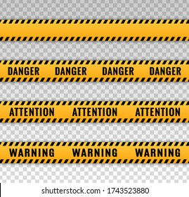 Tape caution. Stripe warning, attention, danger. Yellow and black cross line. Safety barrier sign. Hazard construction. Banner stripes. Scene ribbon. Accident border. Strip warn alert. Vector sign