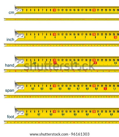 Tape Measure In Cm Cm And Inch Cm And Hand Cm And Span