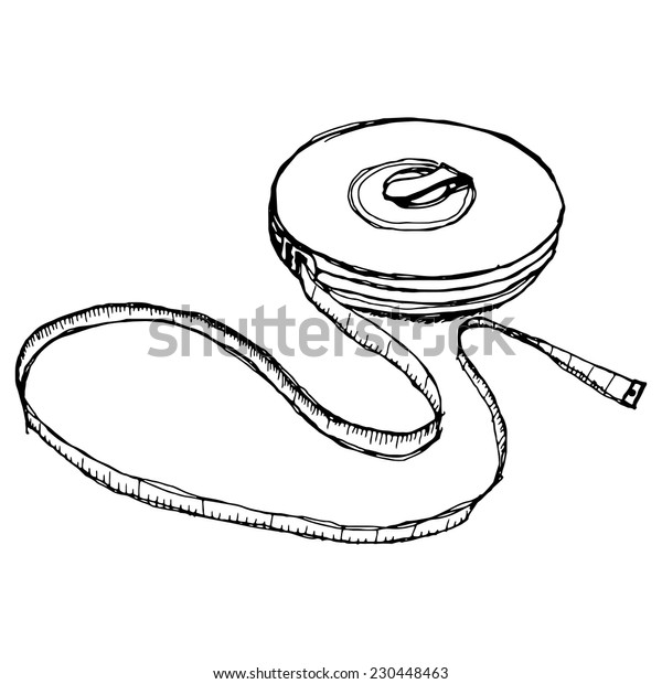 Tape Measure hand drawing vector sketch
