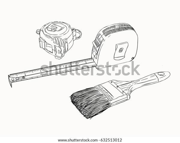 tape measure and paint brush , tools set sketch vector.