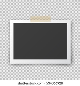 Tape with photo frame. Realistic empty black photo snapshot isolated on transparent background. Vector paper picture pin on sticky tape for your design.
