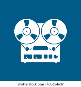 Tape Recorder Icon On Blue Background