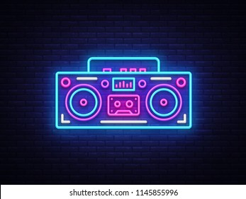 Tape recorder neon signboard vector. Retro Music neon glowing symbol, Retro Style 80-90s Light Banner, neon icon, design element. Vector illustration