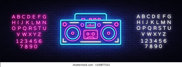 Tape recorder neon signboard vector. Retro Music neon glowing symbol, Retro Style 80-90s Light Banner, neon icon, design element. Vector illustration. Editing text neon sign