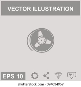 Tape reel vector icon.