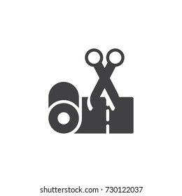 Tape and scissors icon vector, filled flat sign, solid pictogram isolated on white. Symbol, logo illustration.