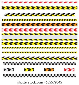 tape yellow and black color with texture. Black and white checkered Racing flag tape.  isolated on white.
